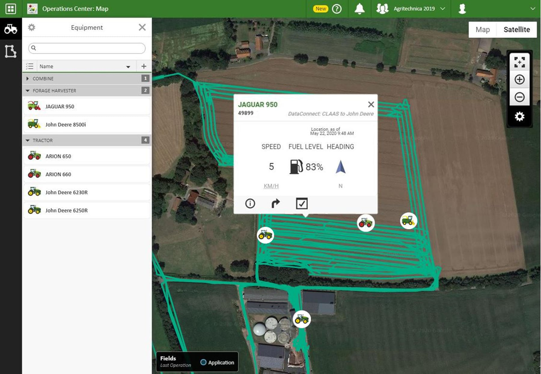Macchine CLAAS visualizzate nel John Deere Operations Center